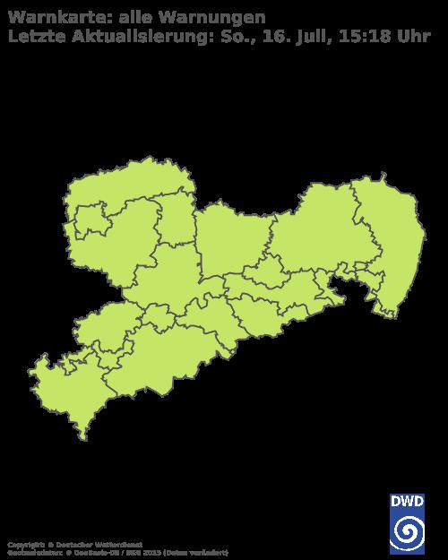 Aktuelle Wetterwarnungen für Vogtlandkreis - Tiefland
